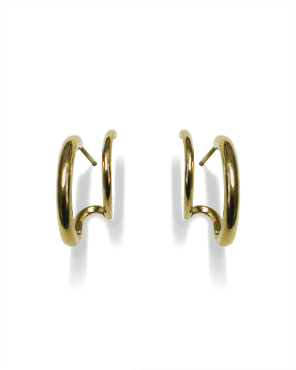 FAUX DOUBLE GOLD HOOPS