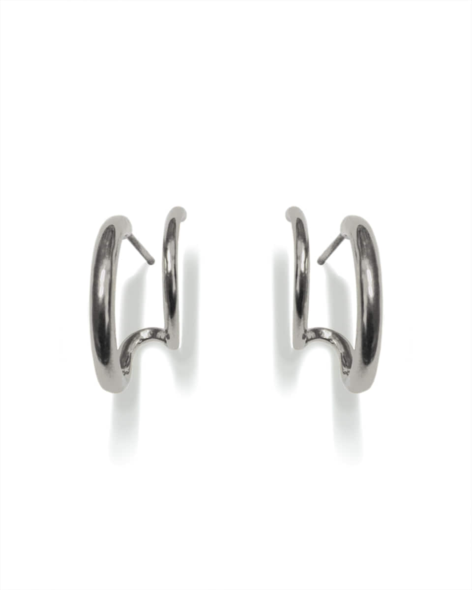 FAUX DOUBLE SILVER HOOPS