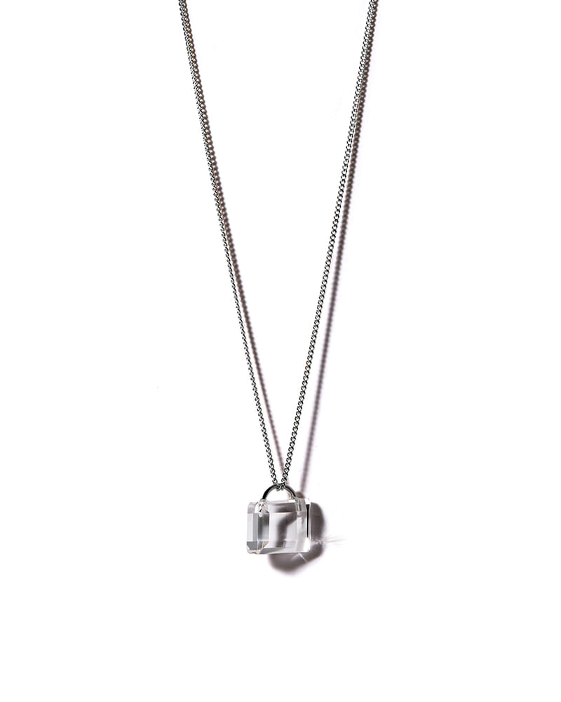 COLORLESS PADLOCK SILVER NECKLACE