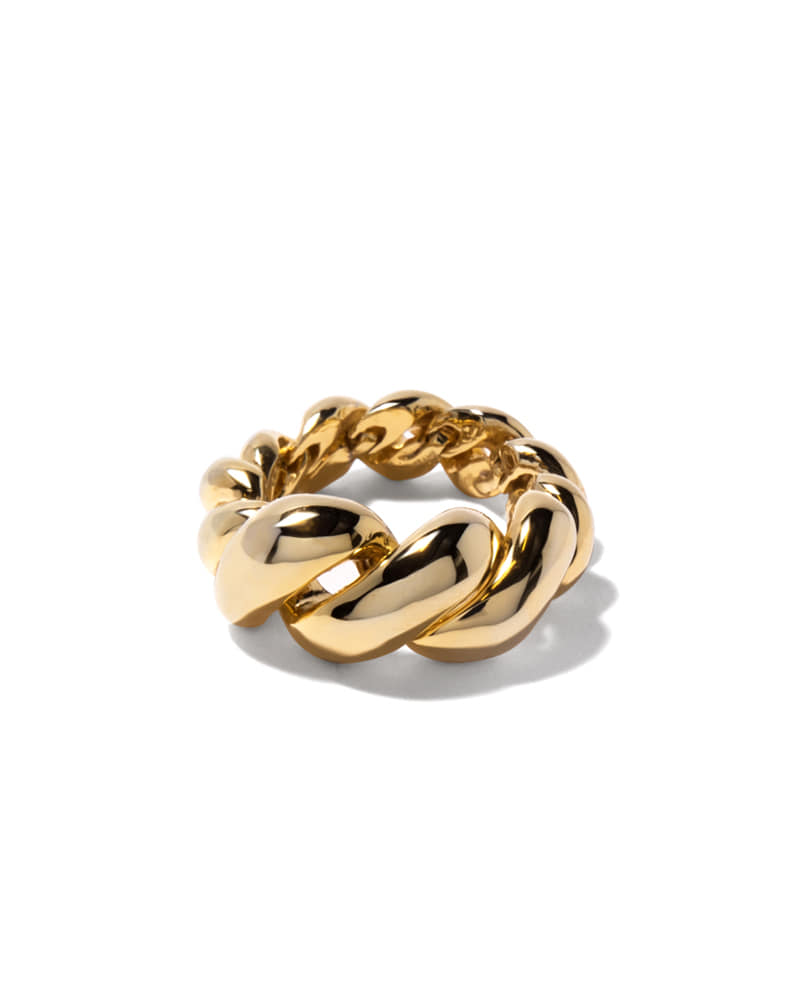 ROPE TWIST BOLD GOLD RING