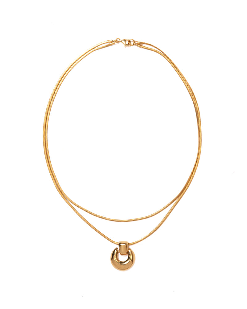 RETRO CRESCENT MOON GOLD NECKLACE
